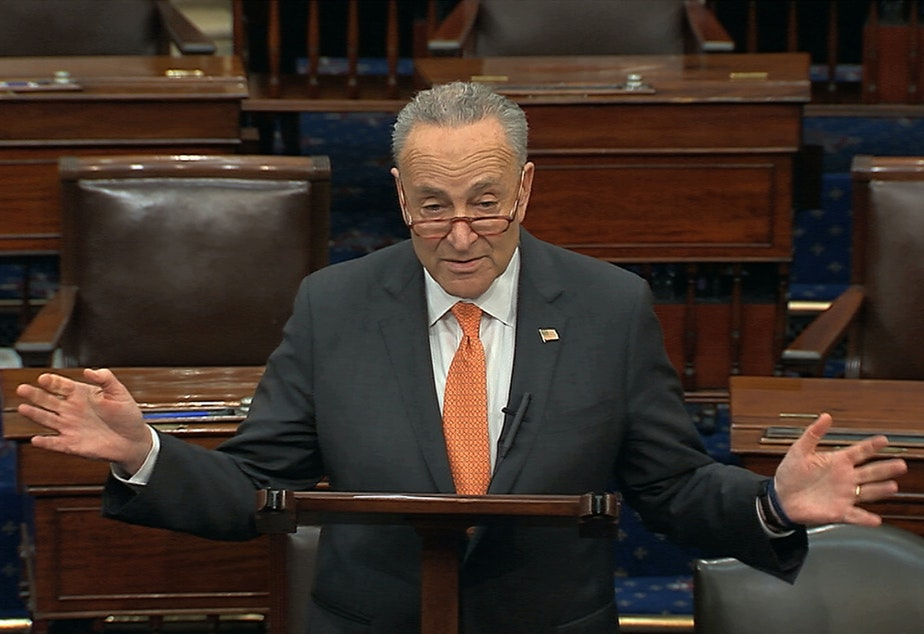 caption: In this image from video, Senate Minority Leader Chuck Schumer speaks on the Senate floor on Saturday.