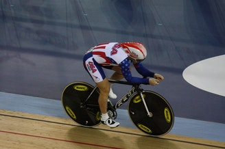 Jennie Reed rides during qualification for an individual pursuit race in London on Feb. 18, 2012.