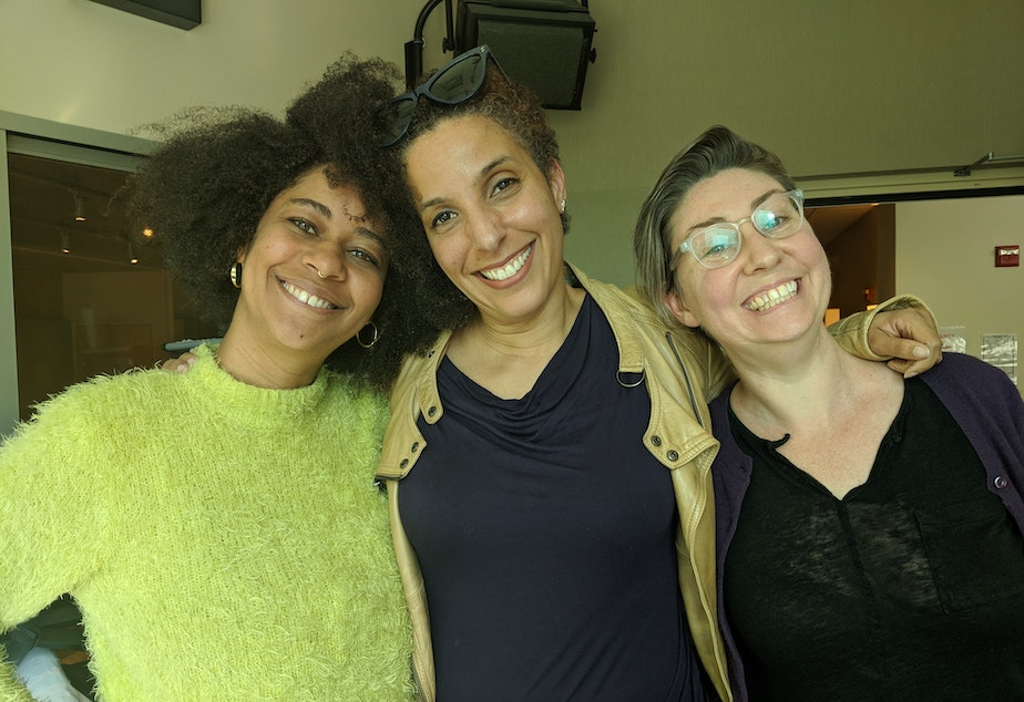 From left, co-host Eula Scott Bynoe, TV critic Melanie McFarland, and co-host Jeannie Yandel.