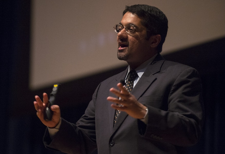 caption: Shankar Vedantam, science correspondent for NPR, addresses the U.S. Coast Guard Academy Corps of Cadets April 4, 2016 as the keynote speaker for the Academy's Eclipse Week.