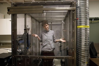 <p>Katie Herzog stands in the Air Pollution Exposure Lab on Wednesday, August 3, 2018 in Vancouver, BC. Researchers at the Air Pollution Exposure Lab are studying the harmful effects of air pollution on the human body.</p>