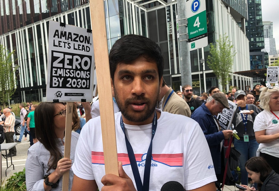 "Amazon software engineer Madhu's hometown of Chennai, India, has extreme temperatures and must bring water by train because of drought. ""That's what really spurred me to think hard and long about climate change and the impact it's having on human lives."""