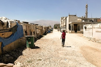 An informal tented settlement for Syrian refugees in Lebanon's Bekaa Valley. AHA members filmed at this camp, gathering footage for their fundraising video