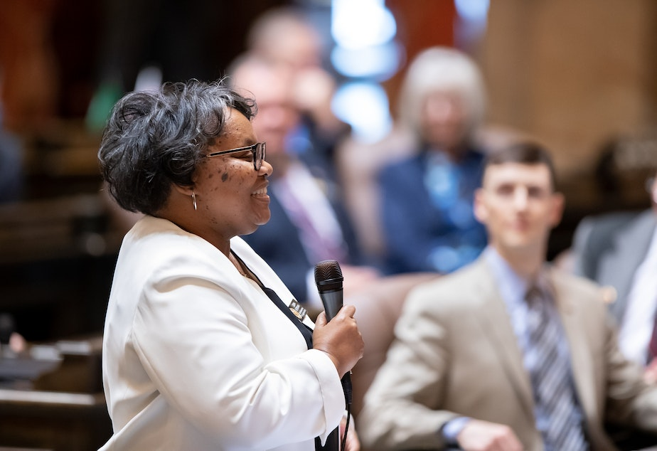 Democratic Representative Debra Entenman, of Kent, speaks in the House of Representatives to honor Reverend Dr. Martin Luther King Jr. on January 21, 2019.
