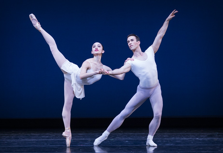 "caption: PNB principal dancers Leta Biasucci and Benjamin Griffiths in George Balanchine's ""Square Dance"""