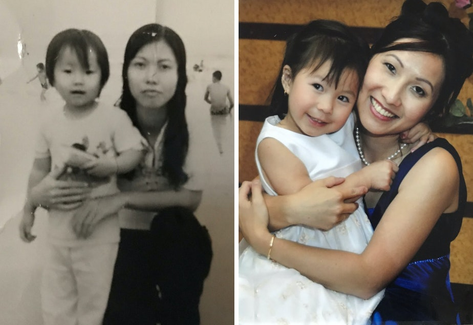 caption: Left: Diem Pham (left) with her mother, Mary Pham, at the beach in Vietnam in 1974. Right: Diem Pham (right) with her daughter, 4-year-old Sarah Pham, at a family wedding in 2006.
