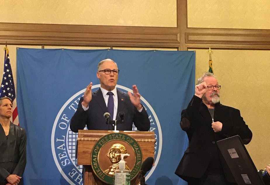 caption: In this file photo, Gov. Jay Inslee holds a news conference on the coronavirus outbreak. On Friday, his chief of staff said the governor has no imminent plans to issue a shelter-in-place order.
