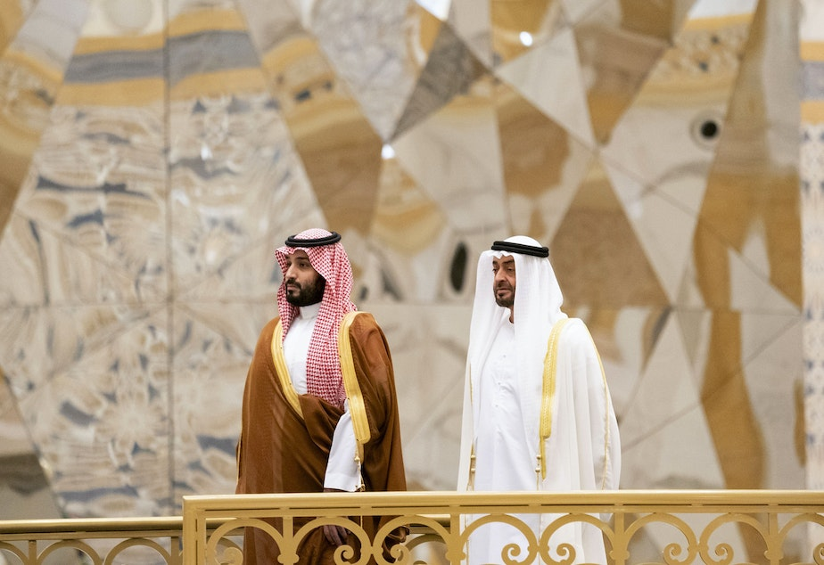 caption: Saudi Crown Prince Mohammed bin Salman (left) attends a ceremony with Abu Dhabi Crown Prince Mohammed bin Zayed Al Nahyan in Abu Dhabi, United Arab Emirates, in November. The Saudi crown prince was in the UAE for talks that were expected to focus on the war in Yemen and tensions with Iran.