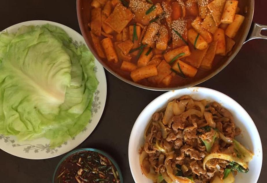 Korean spicy pork Bulgogi and Dduck-Bbok gi, or rice noodles.