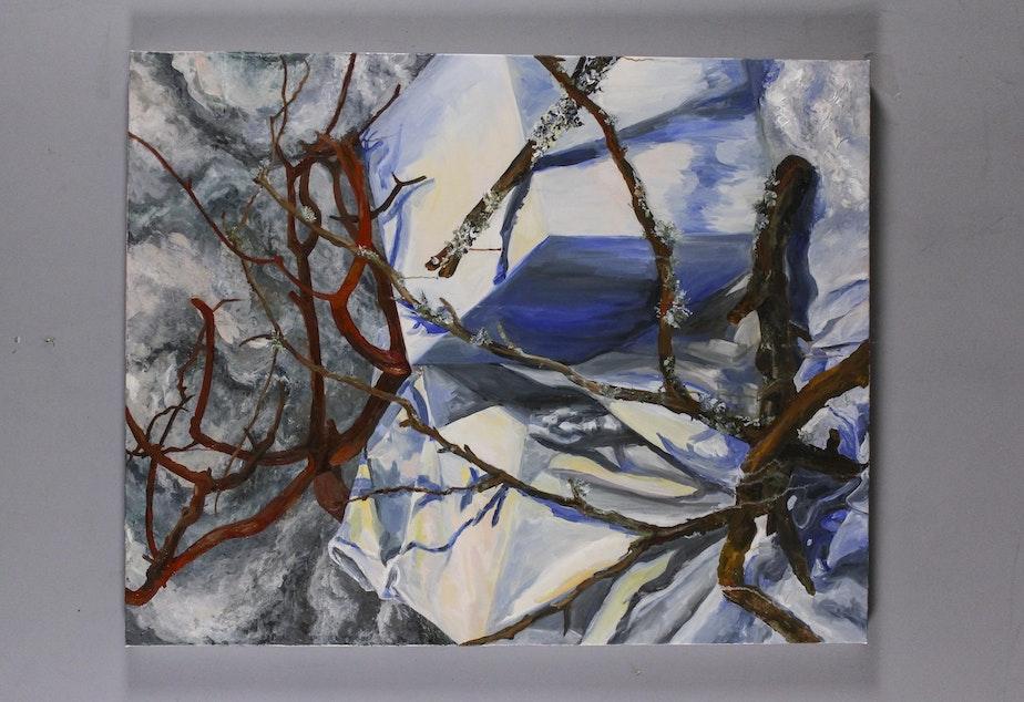 "Feedback Loop (2019), Flora Davis Oil on canvas 38"" x 48"""