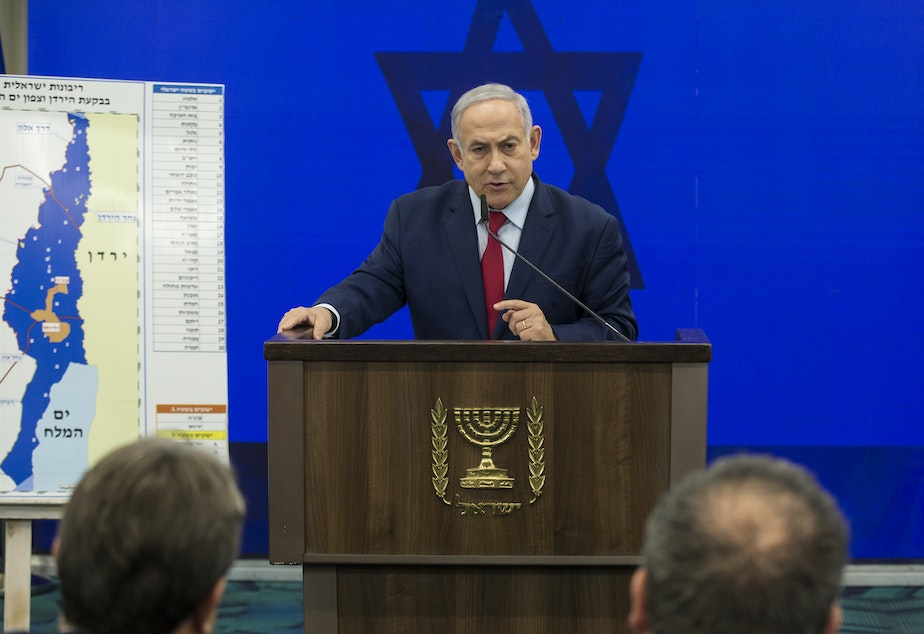 Israeli Prime Minster Benjamin Netanyahu announces his pledge Tuesday to annex the Jordan Valley in the West Bank if he wins reelection in next week's vote.