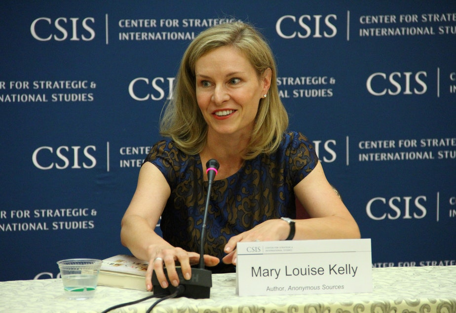 """Mary Louise Kelly at a talk for her book, """"Anonymous Sources,"""" in 2013 hosted by the Center for Strategic and International Studies."""