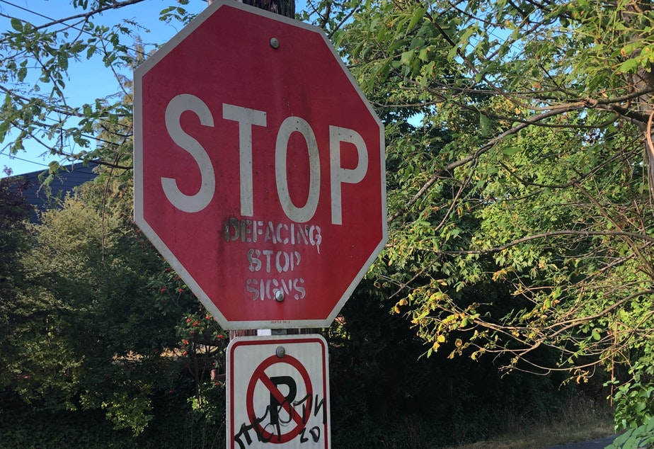 caption: A stop sign in Seattle.