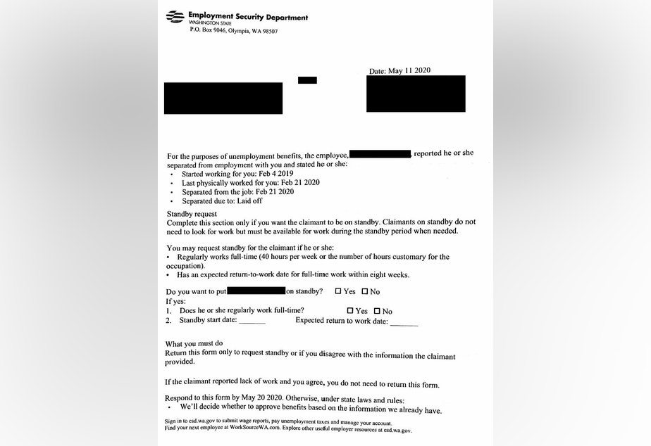 "caption: One of the many unemployment claim notification letters sent to employers in Washington state, often delivered to offices that had been closed because of the pandemic. This is one of the ""tens of thousands"" of claims believed to be fraudulent."