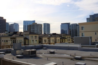 A view of Bellevue from an apartment complex.