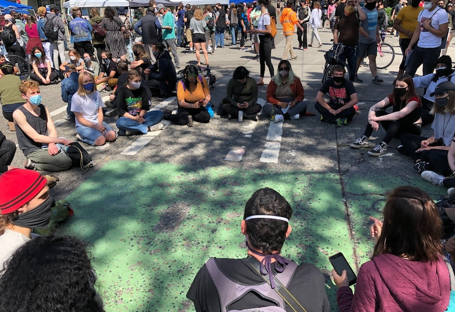 caption: At the Capitol Hill Autonomous Zone in Seattle, a breakout group debates how and whether they should choose leaders
