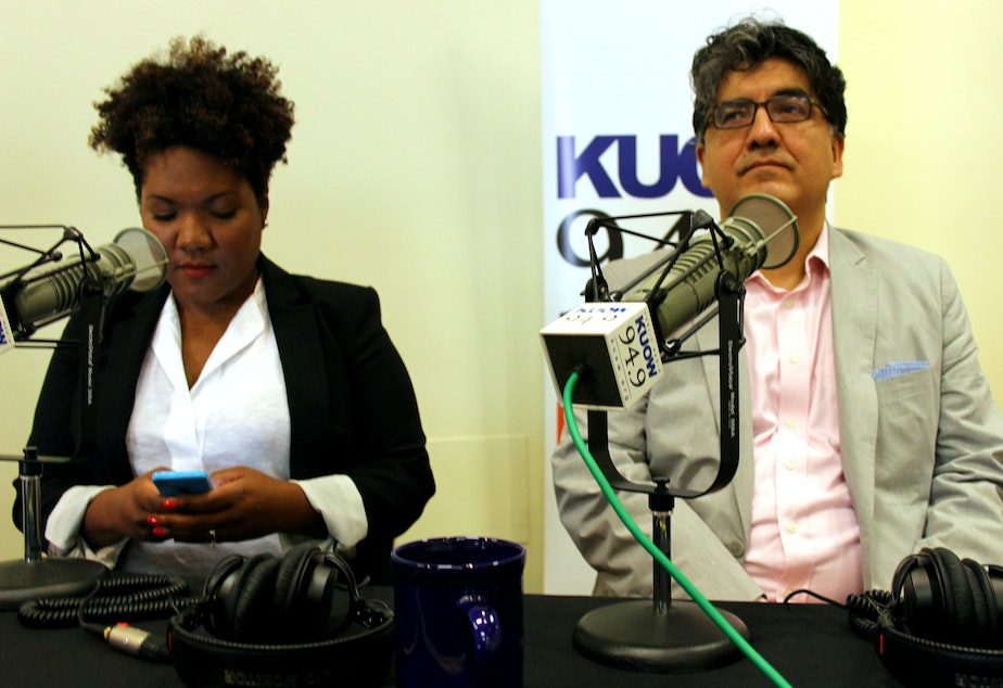caption: Tonya Mosley and Sherman Alexie, guests on KUOW's Week in Review show, live from Northwest African American Museum.
