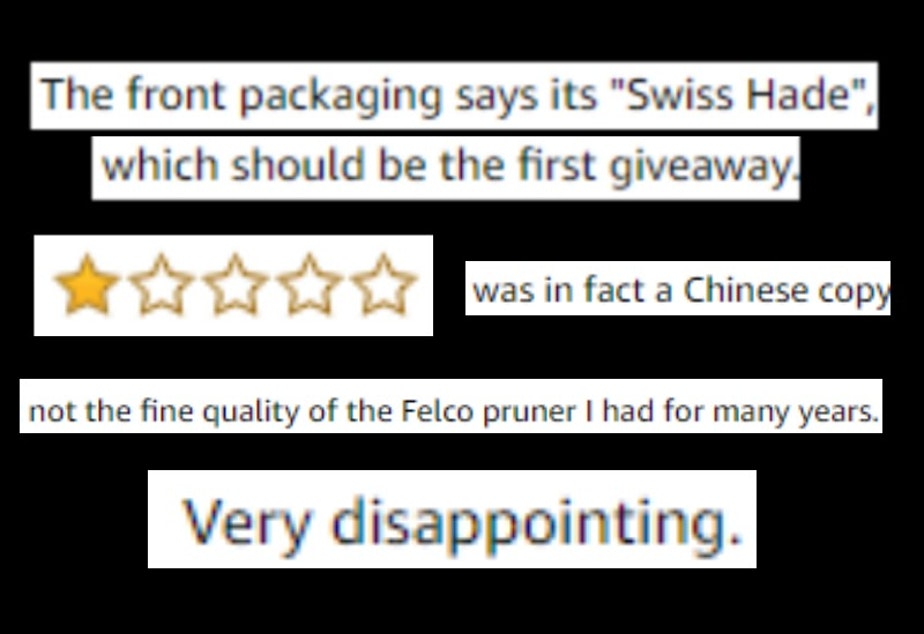 Screenshots from reviews expressing disappointment in Felco's pruners. Orders for these pruners on Amazon are fulfilled by many different sellers. Some of those sellers provide counterfeit products - bringing the rating for all sellers down.