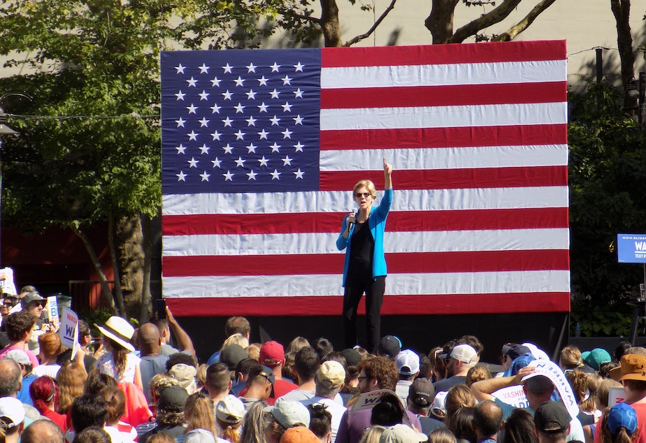 caption: Massachusetts Senator Elizabeth Warren (D) at a campaign town hall at Seattle Center on Sunday, August 24th.