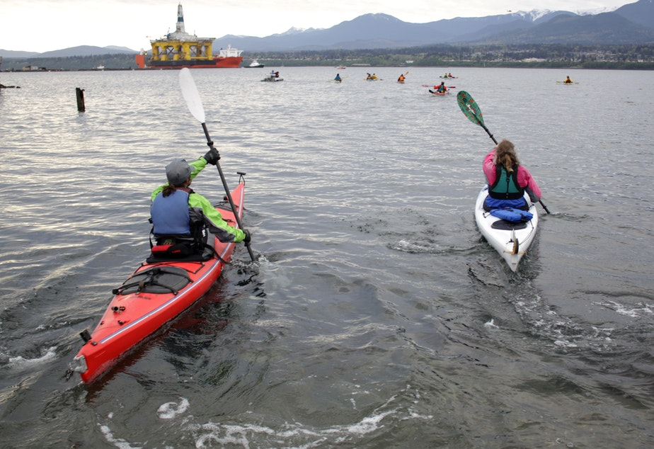 Kayakers protesting the arrival of Shell's Polar Pioneer rig in Port Angeles in April