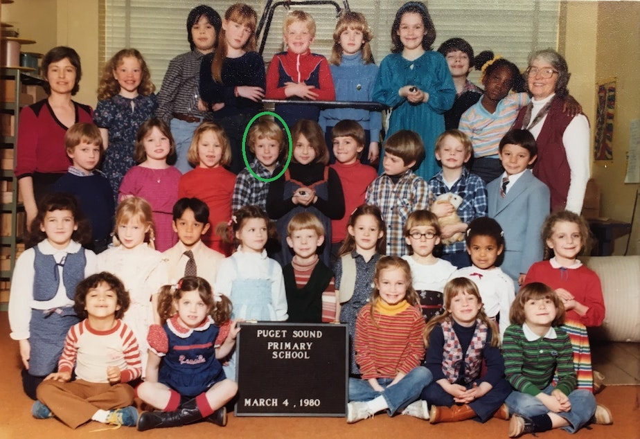 caption: Reporter Austin Jenkins, in green circle, was part of a Puget Sound Primary School trip to Camp Cispus in May 1980. Austin and his classmates were evacuated from the camp after Mount St. Helens erupted.