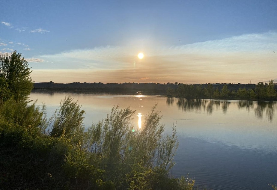 caption: The Columbia River in the early morning. Correspondent Anna King has been walking all over the Mid-Columbia to help her recover from COVID-19.