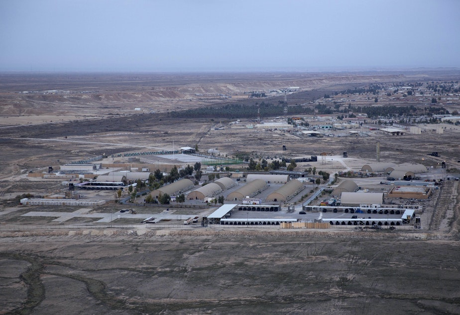 This aerial photo shows Ain al-Assad air base in the western Anbar desert, Iraq, in December 2019.