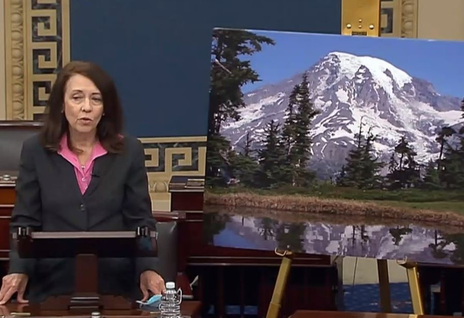 caption: Washington Democratic Sen. Maria Cantwell helped push through the Great American Outdoors Act, speaking on the Senate floor with a picture of Mount Rainier on June 17, 2020.
