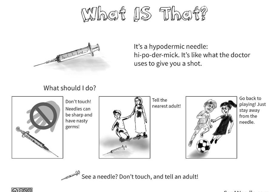 caption: Seattle mom and writer, Lauri Watkins, created this comic to educate children what to do when they find a loose needle.