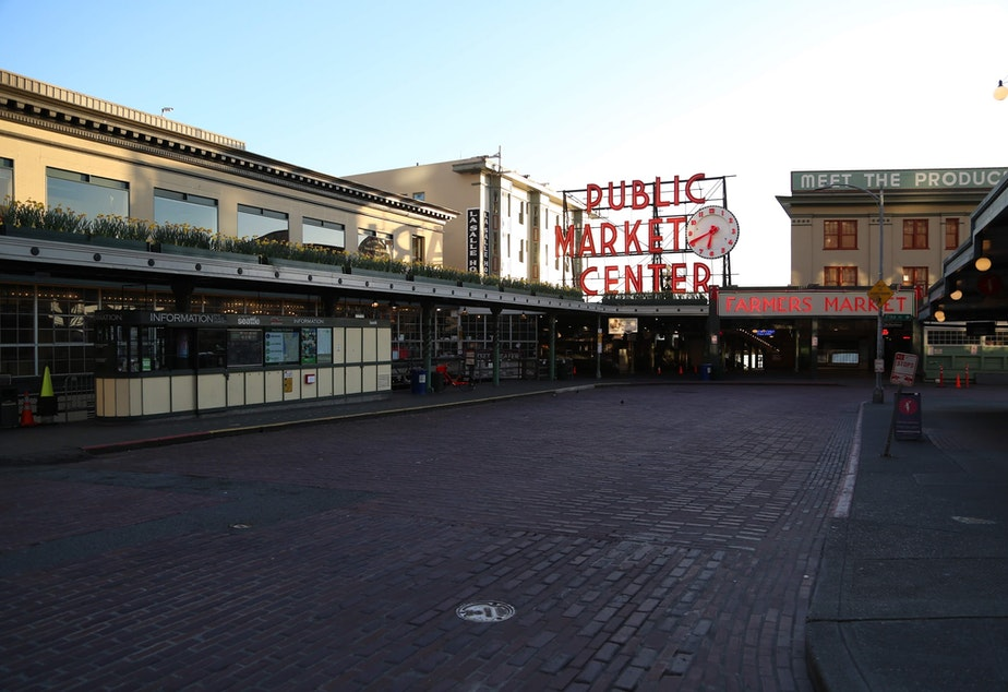 caption: An empty Pike Place Market Thursday 19 2020.