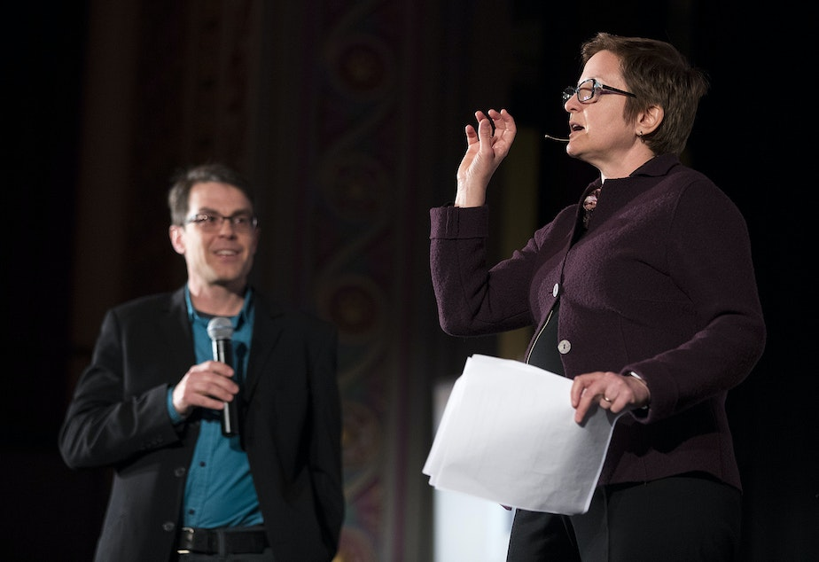 KUOW reporters Joshua McNichols and Carolyn Adolph host 'That's Debatable: Amazon is Good for Seattle' on Wednesday, March 7, 2018, in Seattle.