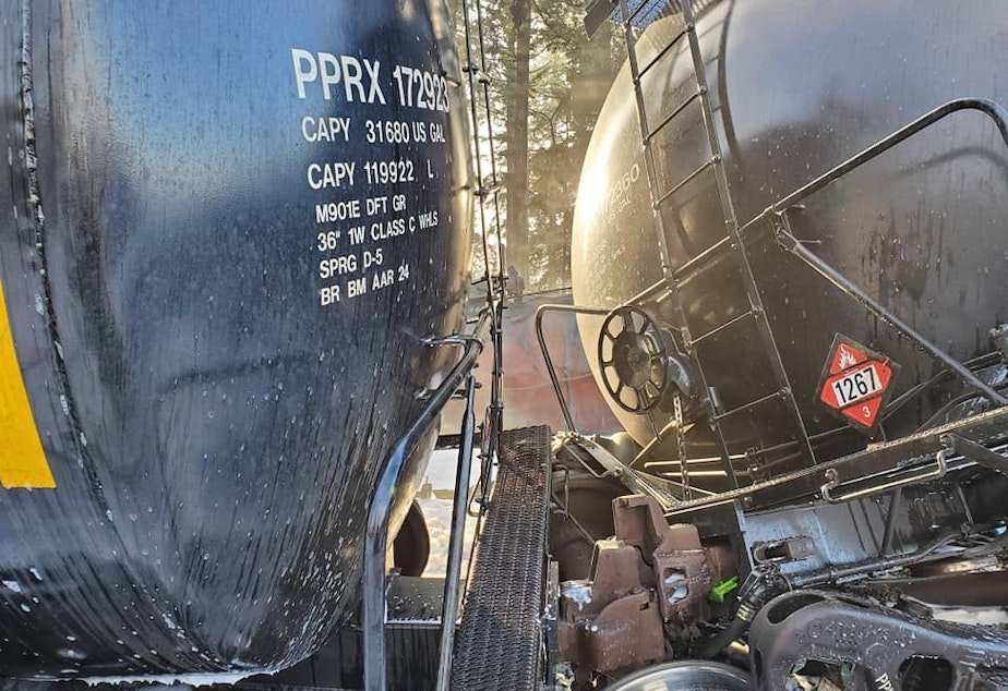 caption: Derailed tank cars in Custer Dec. 22, each holding about 29,000 gallons of crude oil