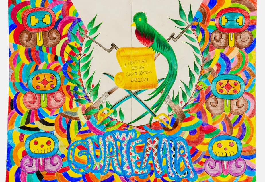 An acrylic piece created by a group of teens featuring the Quetzal, the national bird of Guatemala.
