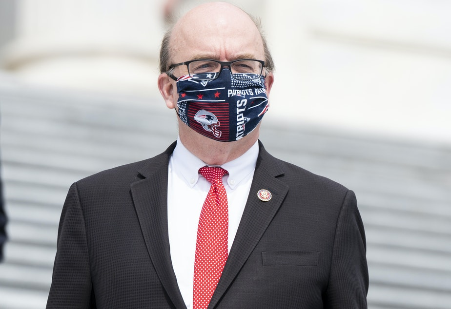 "caption: ""This was a well-organized attack on our country that was incited by Donald Trump,"" Rep. Jim McGovern, D-Mass., said as he opened debate on a resolution to impeach the president."