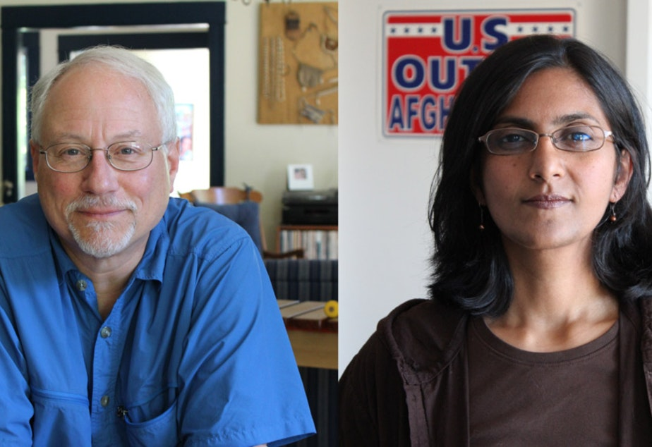 caption: Councilmember Richard Conlin, left, conceded Friday night to Kshama Sawant, his socialist challenger. Conlin has been on the city council for 16 years, or four terms.