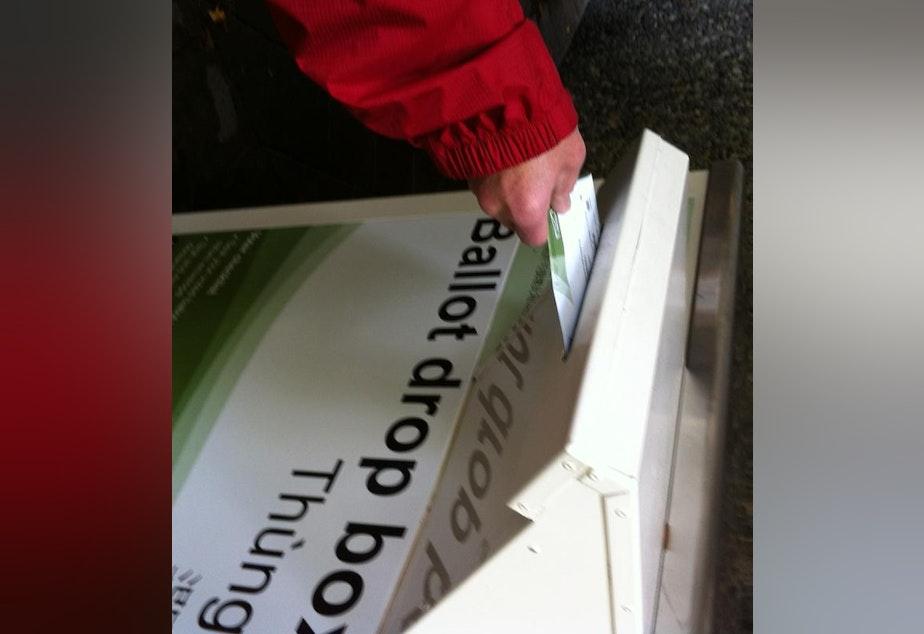 caption: A ballot drop box in Seattle