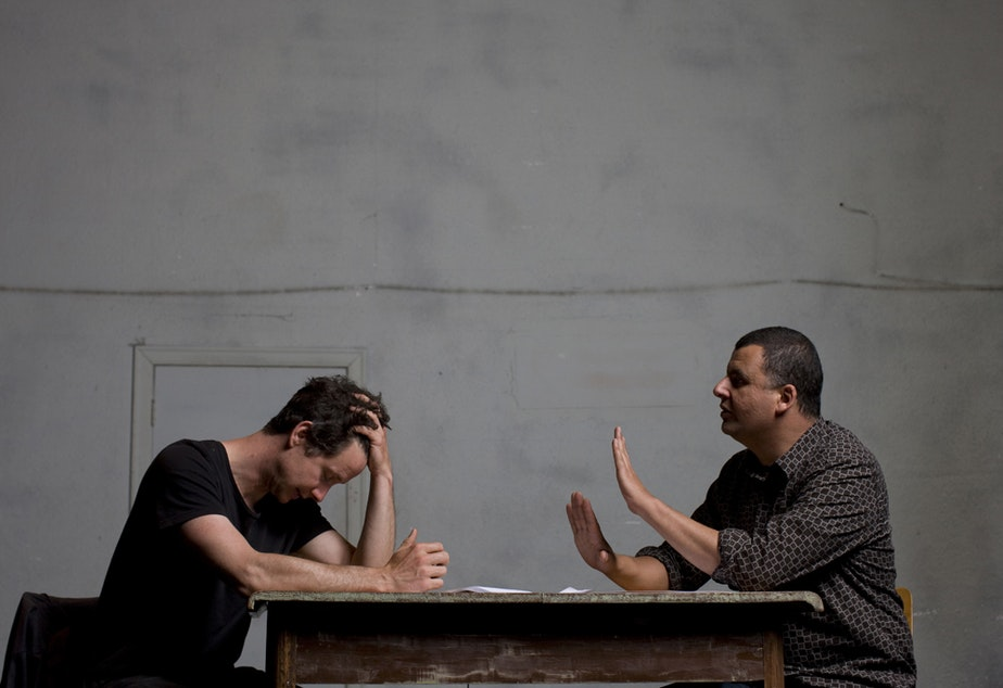 """caption: Theater actors James Long and Marcus Youssef of """"Winners and Losers."""""""
