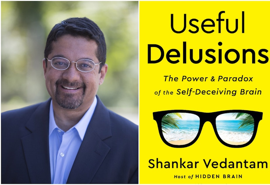 caption: Shankar Vedantam and his new book 'Useful Delusions.'