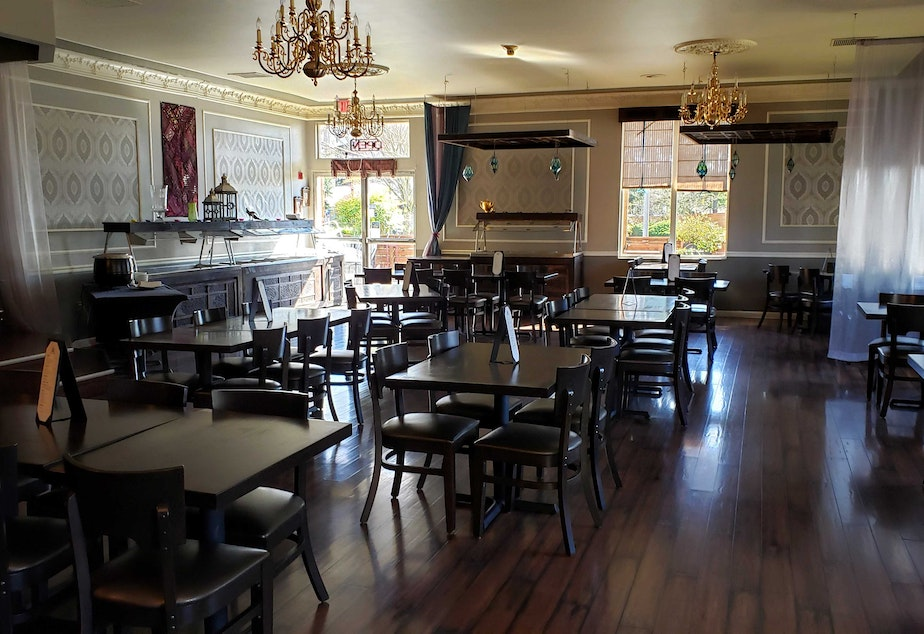 caption: The Royal India in Kirkland sits empty during what would typically be a busy time on Monday, March16, 2020.