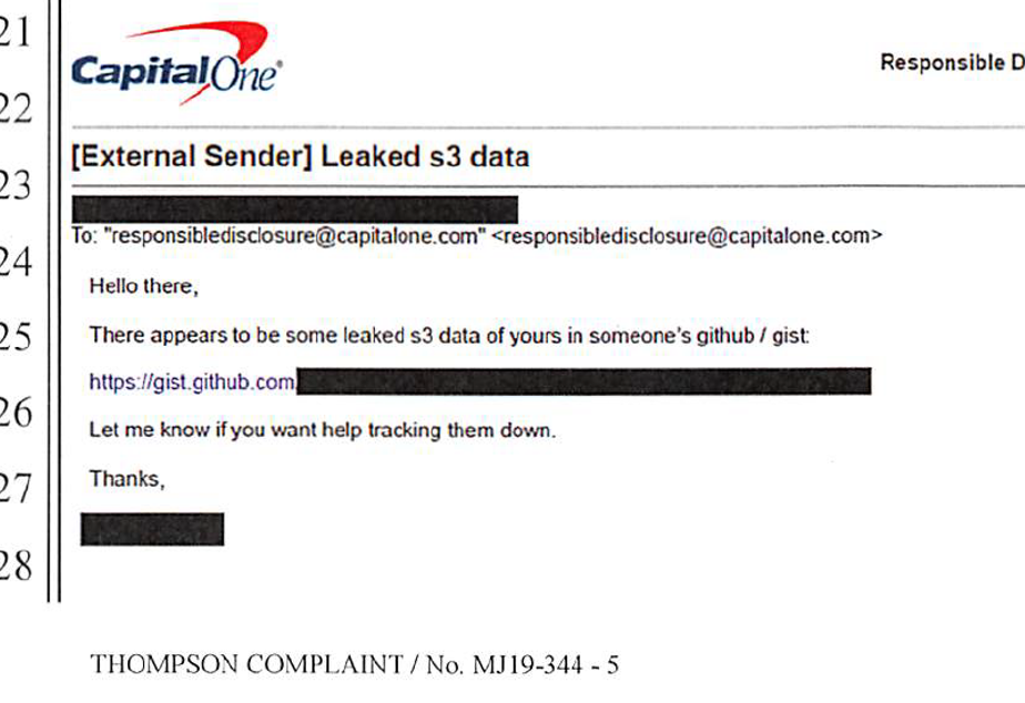 A screen grab from a federal complaint shows the email that tipped off Capital One to the theft.