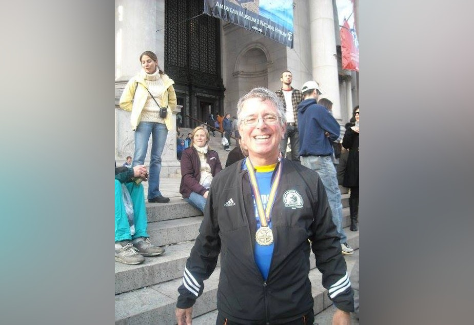 caption: Larry Parker at the New York City Marathon.