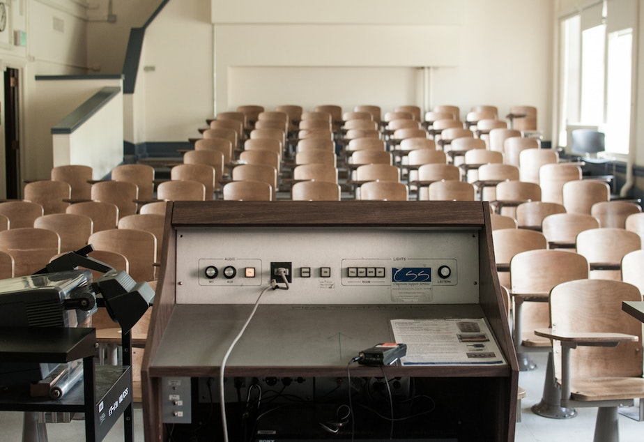 caption: A classroom at the University of Washington, 2012.