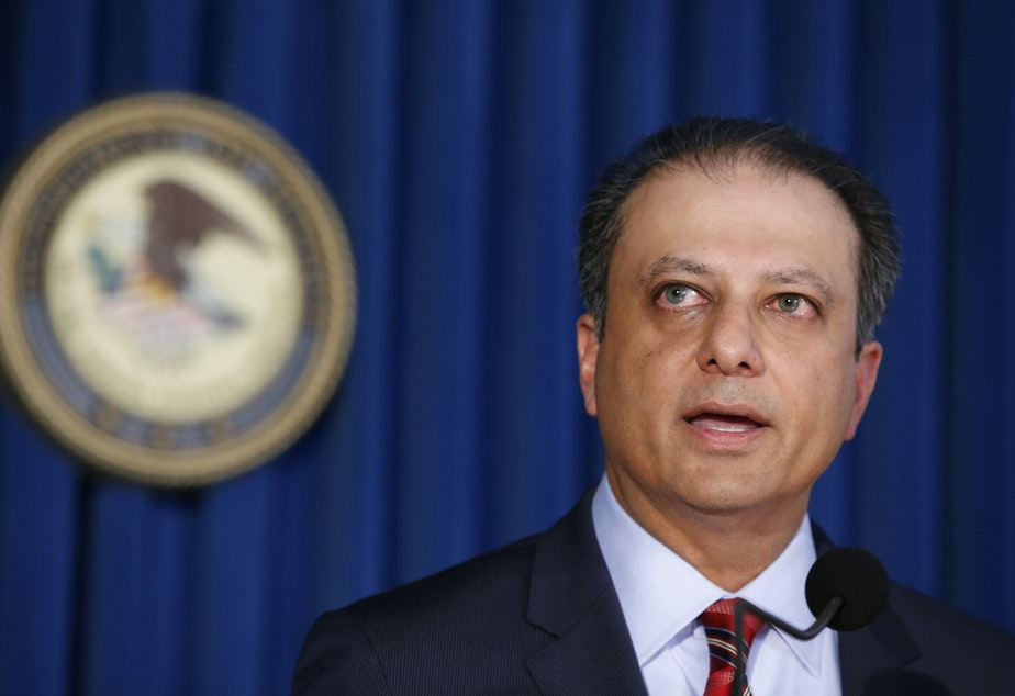 FILE- In this Sept. 17, 2015 file photo, then U.S. Attorney Preet Bharara speaks during a news conference in New York.