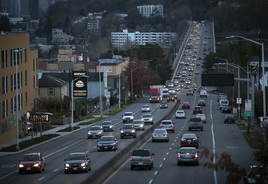 caption: Traffic is shown on Aurora Ave., on Monday, January 22, 2018, in Seattle.