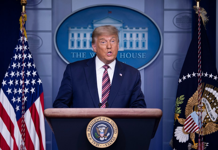 caption: President Trump speaks in the Brady Briefing Room at the White House on Thursday as the presidential election remains tight with Democratic nominee Joe Biden ahead in the electoral count.