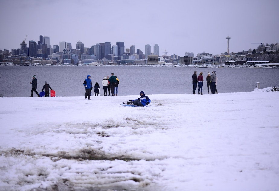 The view of downtown Seattle from Gas Works Park on a snow day, Saturday, Feb. 9, 2019.