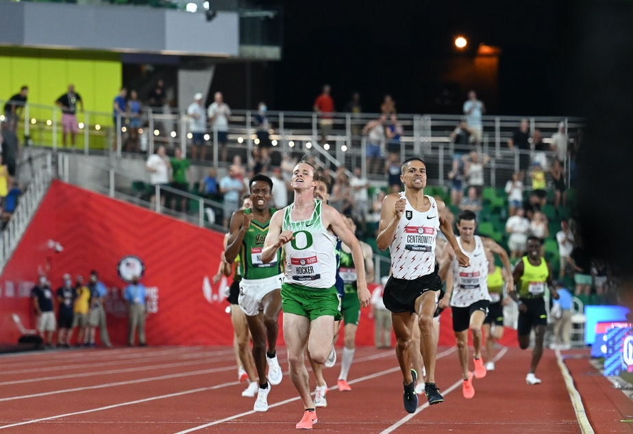 caption: The Tokyo Games could feature an exciting rematch in the 1500 meters between two generations of Oregon Ducks. Sophomore Cole Hocker edged out 2016 Olympic gold medalist Matthew Centrowitz at the U.S. Olympic Team Trials on June 27.