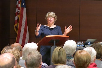 Author and historian Jill Lepore speaking at event for Kansas City Public Library.