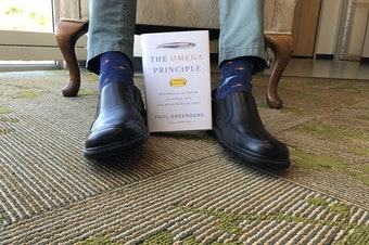 Paul Greenberg shows off this fish socks and his new book at the KUOW studios
