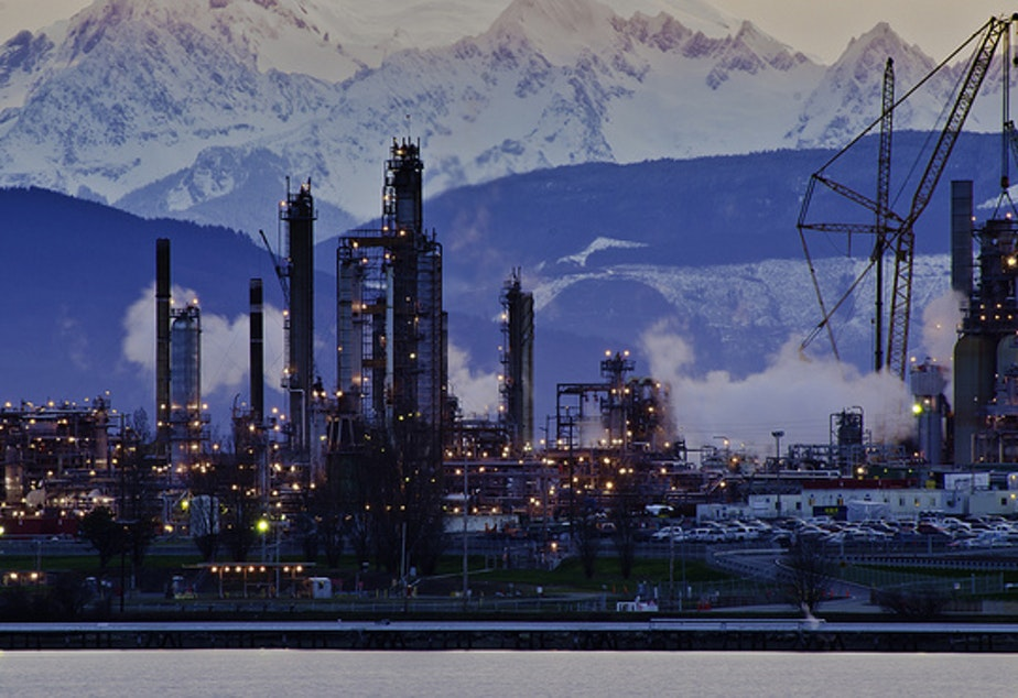 caption: The Tesoro refinery in Anacortes, one of Washington's top 10 sources of greenhouse gases.